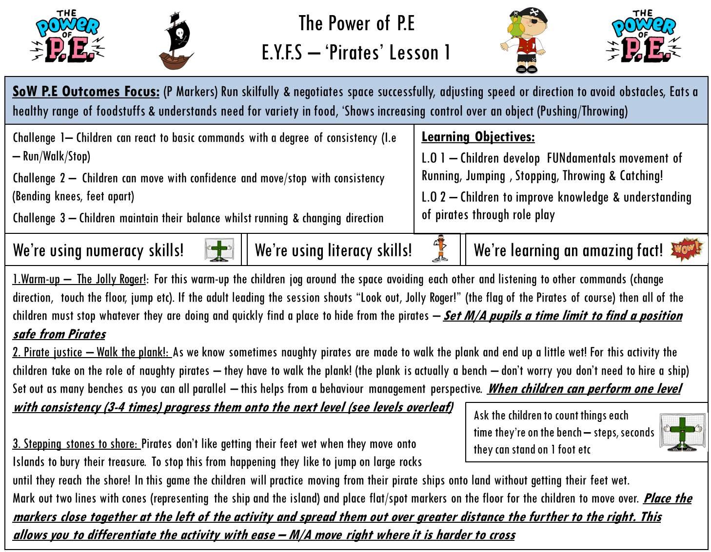 Power of P.E Pirates Lesson 1